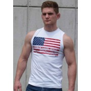 Ajaxx63 American Flag Athletic Fit Muscle Top T Shirt White SL01