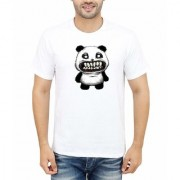 DOUBLE F ROUND NECK HALF SLEEVE WHITE COLOR BIG TEETH PANDA PRINTED T-SHIRTS