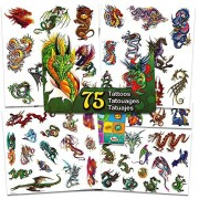 Dragon Party Supplies Dragon Temporary Tattoos Party Favor Set -- 75 Dragons Temporary Tattoos with PopArt Stickers ()