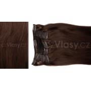 Clip in vlasy odstín 4 Sada: Základní - délka 50 cm, hmotnost 100 g