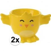 Geen 2x Gele kuiken/kippen eierdop 7 cm
