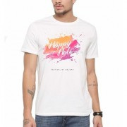 DOUBLE F ROUND NECK HALF SLEEVE WHITE COLOR HOLI FESTIVAL OF COLORS PRINTED T-SHIRTS