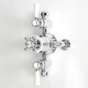 HudsonReed Mitigeur de douche thermostatique exposé à 2 fonctions – Chromé et blanc - Elizabeth