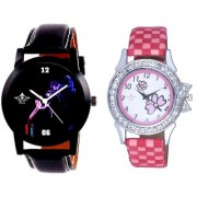 Colouring Smoke Black Dial And Pink Flowers Couple Analogue Watch By Vivah Mart