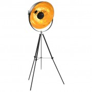 vidaXL Наземна лампа, E27, черно и златисто, 51 см