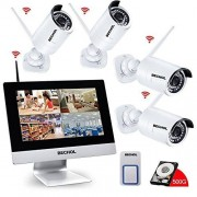 Bechol 1080P Wireless Security Surveillance, 4CH WiFi NVR with 10.1'' LCD Monitor,(4) HD 2.0MP Outdoor/Indoor CCTV Cameras,24pcs IR Leds 100ft night vision,500GB Hard Drive