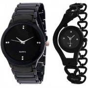 New iik Collection Black With Glory Black Chain Best Designing Stylist Looking Analog Cupple Watch For Men Women
