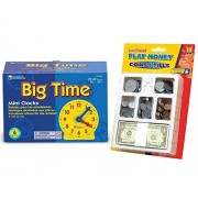 Educational Insights Fun Classroom Resources: 4 Inch Gear Clock (6 Count) Bundled with Play Money - Coins, Bills & Tray
