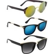 NuVew Round, Wayfarer Sunglasses(Grey, Golden, Blue)