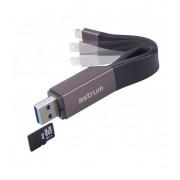 Astrum AA230 2in1 8pin lightning - USB 3.0 OTG adatkábel beépített MicroSD kártyaolvasóval, MFI engedéllyel