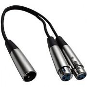 Seismic Audio - SA-Y4 - 1' Splitter Patch Cable - 1 XLR Male to 2 XLR Female