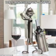 Porte-bouteille Golfeur métallique