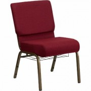 Flash Furniture Fabric Church Chair with Cup/Book Rack - Burgundy w/Gold Vein Frame, 21 1/4Inch W x 25Inch D x 33 1/4Inch H, Model FCH2214GV369B