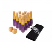 Lawn Bowling Game/Skittle Ball- 10 Wooden Pins, 2 Balls, & Bag Set by Hey! Play! Multi-color Purple/Yellow - 8