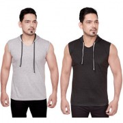 Dudlind Men Clothing Casual Hooded Sleeveless Cotton T-Shirts Colour Grey and Dark Grey Regular Fit Pack of 2 | Pack of 2 Casual Shirts for Mens Regular wear and Party wear