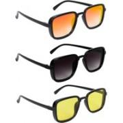 TheWhoop Rectangular Sunglasses(Black, Yellow, Orange)