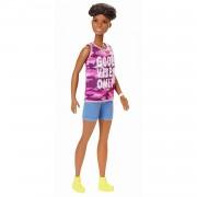 Barbie Fashionista - Muñeca con pelo moreno rizado y corto