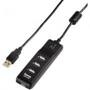 USB хъб с бутон за вкл./изкл. HAMA , USB 2.0, 1:4, черен