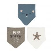 Petit Béguin Lot de 3 bavoirs foulards bébé garçon Little Cowboy