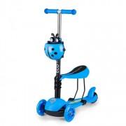 Trotineta pliabila scooter pentru copii, cu 3 roti iluminate LED, scaun detasabil, inaltime reglabila, albastru