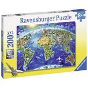 Puzzle Harta cu monumentele lumii, 200 piese