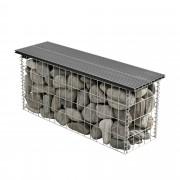 [pro.tec]® Gabion kerti pad kőkosár WPC 100 x 30 x 45 cm kőbox kődoboz horganyzott drót szürke