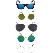 Rich Club Round, Aviator Sunglasses(Clear, Black, Green, Blue)