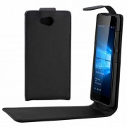 For Microsoft Lumia 650 Plain Texture Vertical Flip Leather Case Waist Bag with Magnetic Buckle(Black)