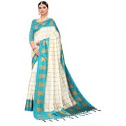 Indian Beauty Women's Sky Blue Color Mysore Silk Printed Saree Border Tassels With Blouse Piece(WEDDING-JHUMKA-SKY_Free Size)