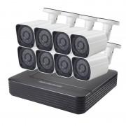COTIER A8B6 8Ch 720P 1.0 megapixel Bullet IP-Camera NVR Kit de visie van de nacht van de steun / bewegings-detectie IR afstand: 15m