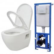 vidaXL Окачена тоалетна с казанче, керамика, бяла