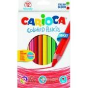 Creioane colorate CARIOCA Maxi hexagonale 12 culori-cutie