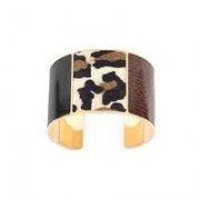 Minerva Cuff Black Leopard Brown Snake Small - Small