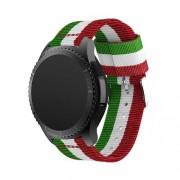 Okosóra szíj - ZÖLD / FEHÉR /PIROS - Szövet - 95mm + 81mm hosszú, 22mm széles - SAMSUNG Galaxy Watch 46mm / SAMSUNG Gear S3 Classic / SAMSUNG Gear S3 Frontier