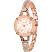 RIDIQA Analog Crystal Studded WHITE Dial Stainless Steel Golden Wrist Watch ForGirls Women-RD-073