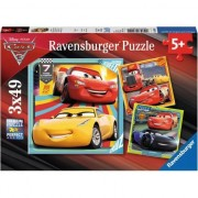 Puzzle Ravensburger - Disney Cars 3, 3 in 1, 3x49 piese
