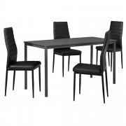 [en.casa] Set de mesa de comedor diseño [140cm x 60cm x 75cm] gris oscuro - 4 x sillas tapizadas en cuero sintético - negro