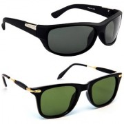 TheWhoop Combo New Sports Black And Green Gold Wayfarer Sunglasses