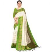 Indian Beauty Women's Mahendi Color Mysore Silk Printed Saree Border Tassels With Blouse Piece(WEDDING-BATAK-MAHENDI_Free Size)