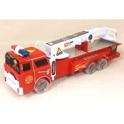 Friction Power Rescue Fire Engine Truck Toy For Kids With Expanding Ladder & Lights & Siren Sounds