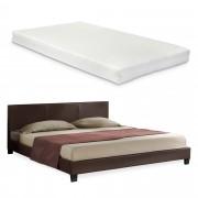 Corium® Moderná manželská posteľ - Barcelona - s matracom - tmavo hnedá - 140 x 200 cm