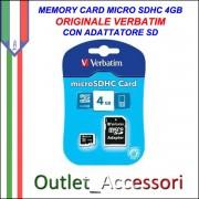 Memory Card Micro sdhc sd 4GB VERBATIM Originale in confezione Blister sigillata