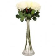 Bellatio flowers & plants Woondecoratie smalle vaas met 12 witte rozen