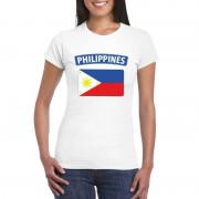 Bellatio Decorations T-shirt met Filipijnse vlag wit dames