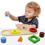 Toyssa Wooden Educational Sorting Stacking Toy Shapes Sorter Geometric Block Stack Sort Puzzle Board Games For Kids Baby Preschool Toddler