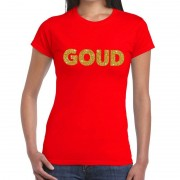 Bellatio Decorations GOUD tekst t-shirt rood dames