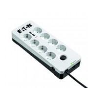 Разклонител Eaton Protection Box 8 Tel USB DIN , 8 гнезда, 2x USB, бял/черен