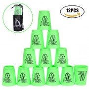 Quick Stacks Cups, 12 Sets of Sports Stacking Cups with Quick Release Stem Speed Training Game(Green)