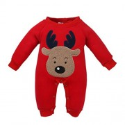 Foutou Newborn Kid Baby Girls Boys Christmas Clothes Deer Print Thicken Romper Jumpsuit Pajamas Outfits (12M, Red)