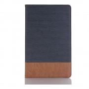 Shop4 - Samsung Galaxy Tab A 10.5 Hoes - Book Cover Denim en Leer Donker Blauw
